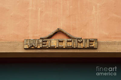 Storefront Photograph - Wood Welcome Sign by Blink Images