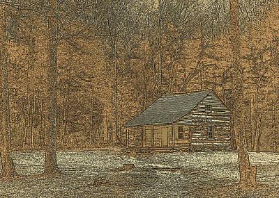 Woodcut Cabin Art Print by Jim Finch