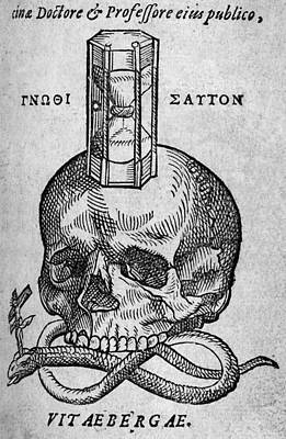 Woodcut Of Skull, Snake And Hourglass Art Print by Middle Temple Library