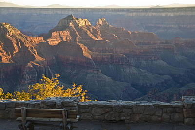 Grand Canyon Drawing - Wooden Bench At Canyon by Kate Sumners