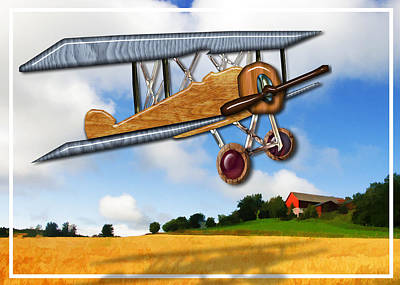 Education Painting - Wooden Biplane Over Farm Fields  by Elaine Plesser