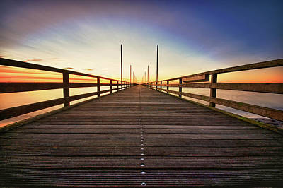 The Way Forward Photograph - Wooden Bridge At Baltic Sea by Siegfried Haasch