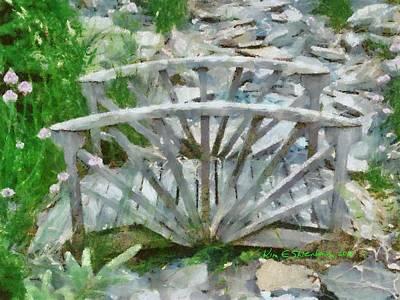 Wooden Bridge On Stone Creek Art Print by Kim Ezra Shienbaum