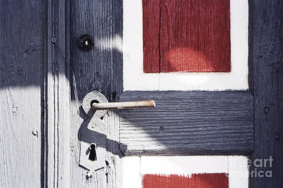 Print featuring the photograph Wooden Doors With Handle In Blue by Agnieszka Kubica