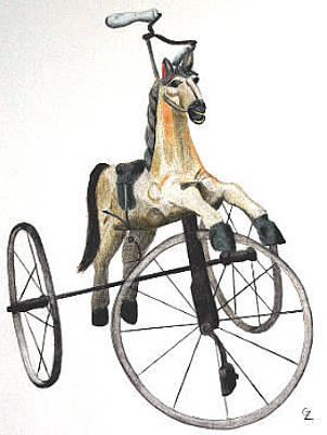Wooden Horse Trike Original by Glenda Zuckerman