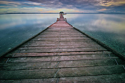 Clouds Over Sea Photograph - Wooden Pier by Landscape Artist