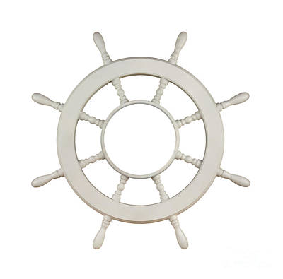 Navies Photograph - Wooden Sail Boat Wheel by Blink Images