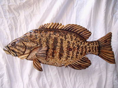 Dryriver Relief - Wooden Small Mouth Bass Number Nine by Lisa Ruggiero