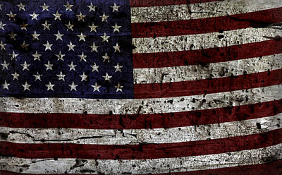 Photograph - Wooden Textured Usa Flag2 by John Stephens