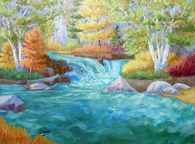 Woodland Stream Art Print by Irene Hurdle