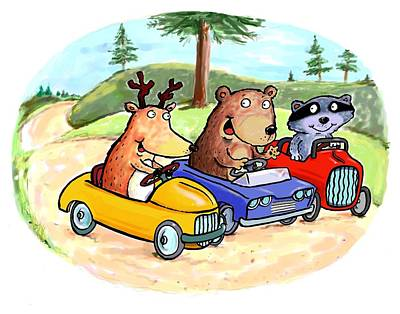 Woodland Traffic Jam Art Print