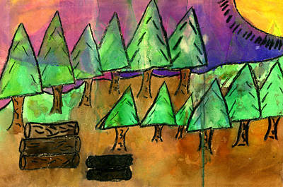 Mixed Media - Woods Cut Logs And A Sunset by Tim Nyberg