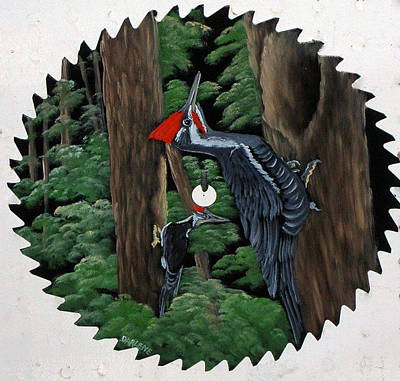 Saw Blades Painting - Woody Woodpecker by Darlene Prowell