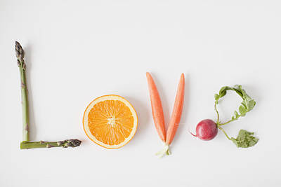 Y120907 Photograph - Word 'love' Made Out Of Fruits And Vegetables, Studio Shot by Jessica Peterson
