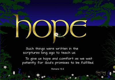 Word Of Hope Art Print by Greg Long