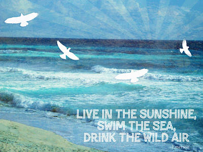 Depression Mixed Media - Words To Live By The Sea by Tia Helen