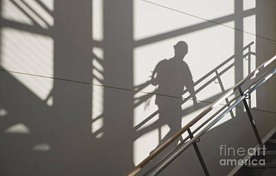 Workers Shadow In A Stairwell Art Print by Andersen Ross