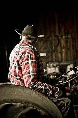 Working Cowboy Photograph - Working In Flannel by Marilyn Hunt