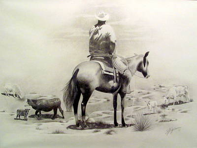 Working Cowboy Drawing - Working Man by Selenda Hightower
