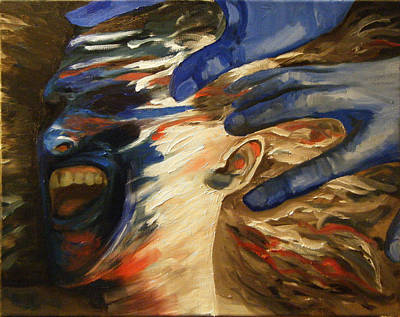 Painting - working title Blue Scream in progress by Katherine Huck Fernie Howard