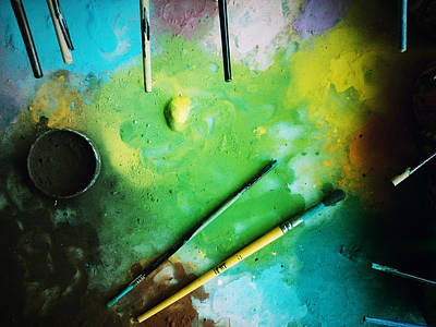 Workplace Dyes Brushes Art Print