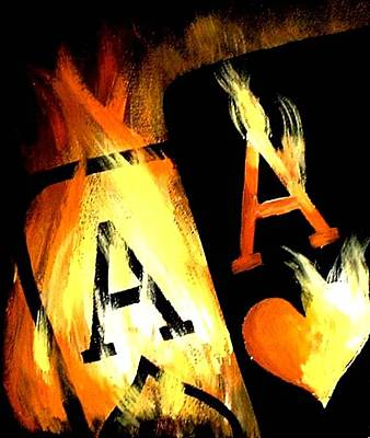 Painting - World Famous Poker Art Flaming Pocket Aces by Teo Alfonso