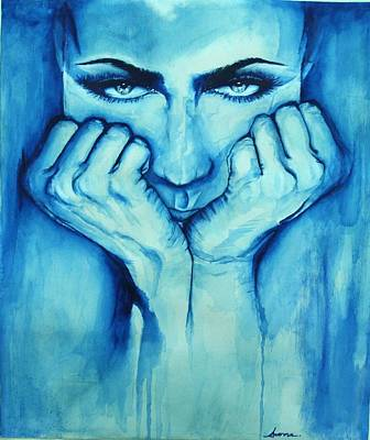 Phthalo Blue Painting - World In My Eyes by Sanna N