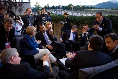 World Leaders Relax Before Dinner Art Print by Everett
