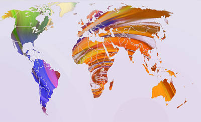 Australia Digital Art - World Map Abstract Painted by Steve K