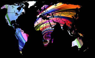 Australia Digital Art - World Map Abstract Painting 2 by Steve K