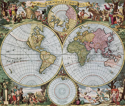 Photograph - World Map From Schencks Atlas by Photo Researchers