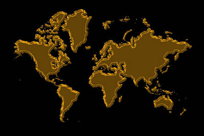 Photograph - World Map Gold by Andrew Fare
