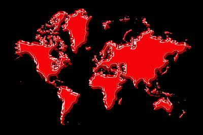 Photograph - World Map Red by Andrew Fare