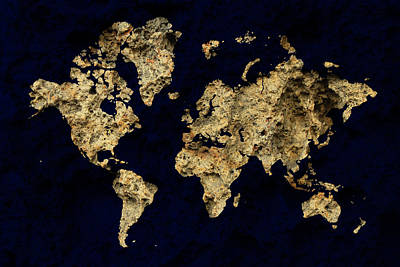 Photograph - World Map Rock by Andrew Fare