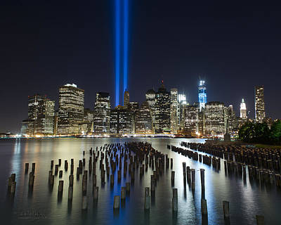 World Trade Center Tribute From The Pier Art Print by Shane Psaltis