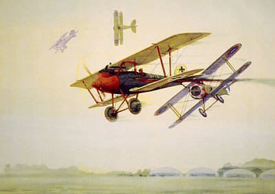 World War I Air Battle In Which Art Print by Everett