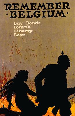 War Bonds Photograph - World War I American War Bond Poster by Everett