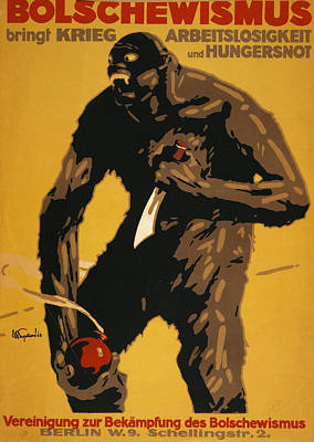 1910s Poster Art Photograph - World War I, Bolshevism, German Poster by Everett