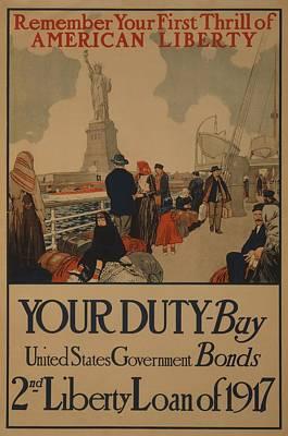World War I Poster Aimed At Recent Art Print by Everett