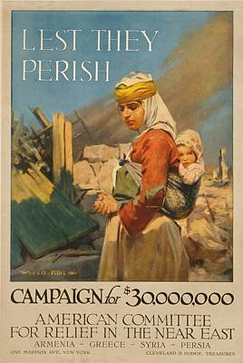 World War I Poster. Lest They Perish Art Print by Everett