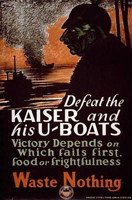World War I, Poster Showing A Dark Art Print by Everett