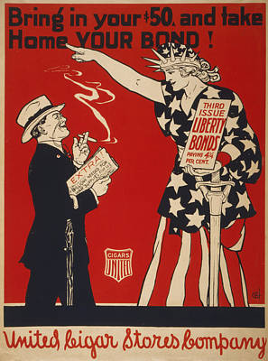 World War I, Poster Showing Liberty Art Print by Everett