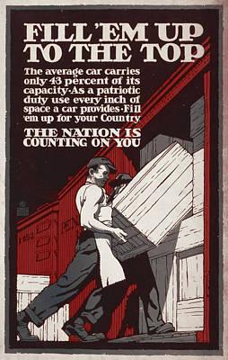 World War I, Poster Showing Men Loading Art Print by Everett