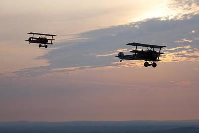Triplane Photograph - World War I Triplanes In Flight by Pete Ryan