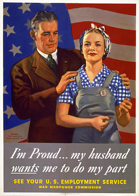 World War II, Poster Showing A Husband Art Print