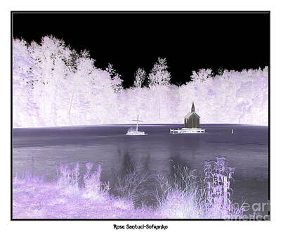 Negative Effect Digital Art - Worlds Smallest Chapel Church Negative Inverted Image by Rose Santuci-Sofranko