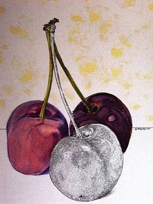 Colored Pencil Painting - Worldview Cherries by D K Betts