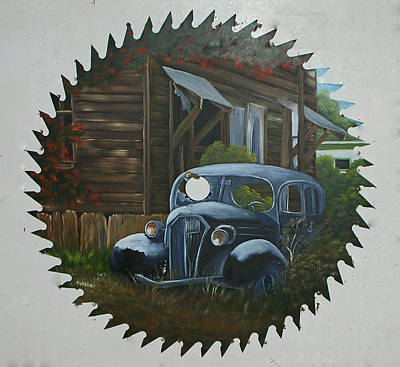 Saw Blades Painting - Worn Out Car by Darlene Prowell