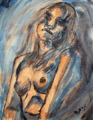 Worried Young Nude Female Teen Leaning And Filled With Angst In Orange And Blue Watercolor Acrylics Original