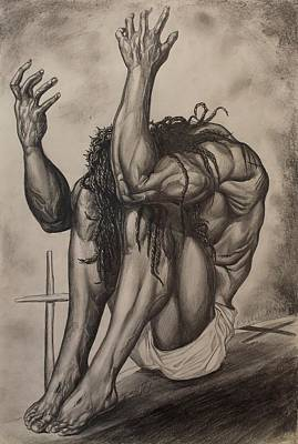 Jesus Drawing - Wounding Of A Saviour by The Art of DionJa'Y